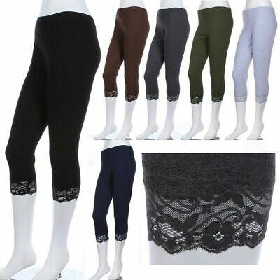 [PLUS SIZE] Plain Cotton Capri Leggings with Hem LACE TRIM Skinny 1XL 2X -