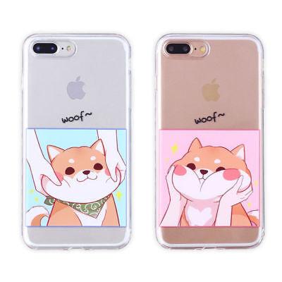 Cute Shiba Inu Couple Phone Case For iphone X 6 7 8 plus Cartoon TPU Soft Clear