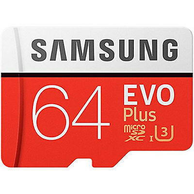 Samsung 64GB Evo Plus Micro SDXC TF Memory Card + Adapter 100MBs New UK MC64GA