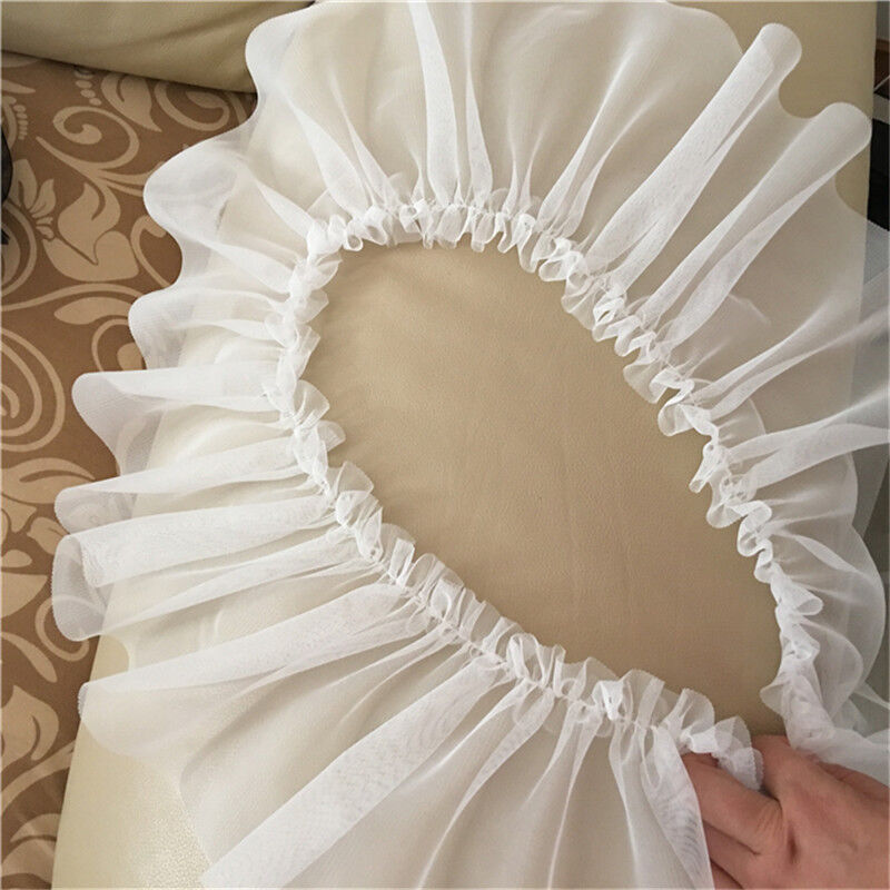 "Satin Box Lace Trims Sequins Pleated Ribbon DIY Doll Dress 2.16/"" Width"