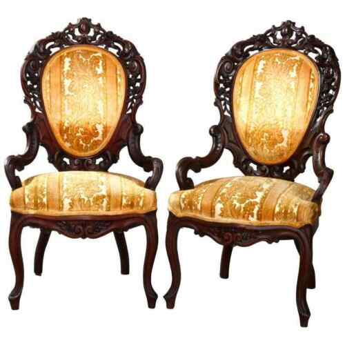 Pair of Belter & Meeks School Reticulated Walnut Parlor Armchairs, circa 1880