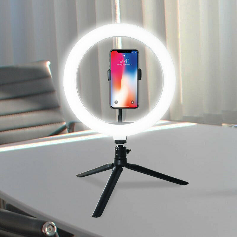"""10"""" LED Ring Light Dimmable Bicolor Lighting for Photography"""