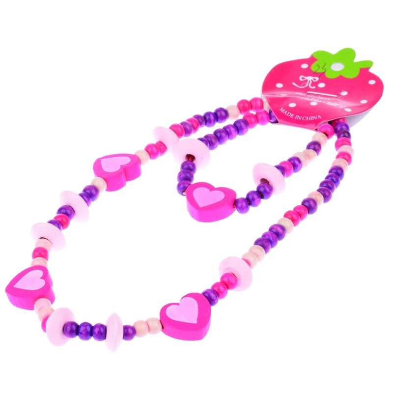 Cute Girls Pink Heart Wood Beads Kids Necklace Bracelet Jewelry Set Gift Newest