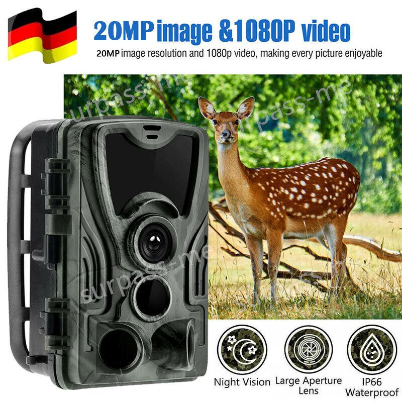Wildkamera Überwachungskamera FHD 1080P 20MP Jagdkamera Fotofalle PIR Nachtsicht