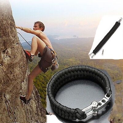Black ParaCord Survival Bracelet Weave 7-Stand Stainless Steel Shackle Buckle iF