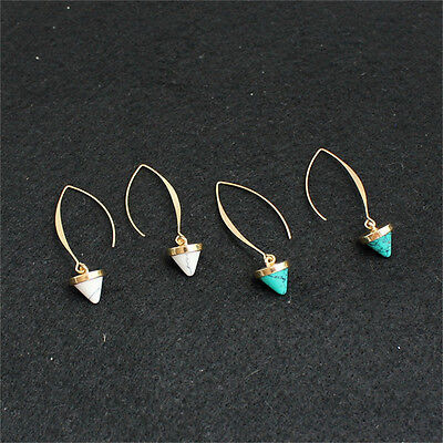 Fashion Women Inlay Gold Plated Turquoise Natural Stone Earrings Hoop Dangle (Stone Fashion Earrings)