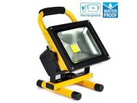 New 20W Portable Rechargeable Battery LED Work Light Cool White Floodlight Charger Waterproof