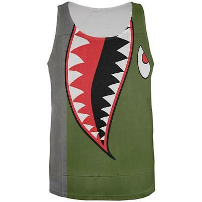 Halloween WWII Flying Tiger Fighter Shark Nose Art All Over Mens Tank Top](Tiger Nose Halloween)