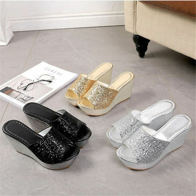 US Womens Sequin Platform Wedge Sandal Peep Toe Slip On Slippers Indoor Shoes - Sequin Platform Wedge