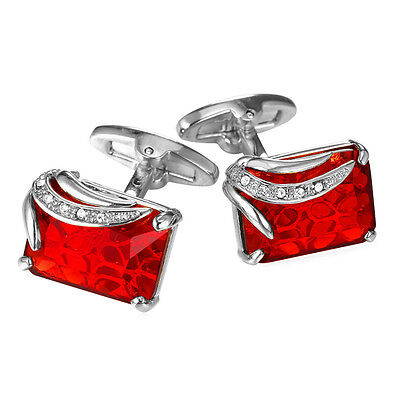 Red Fancy Stone 18K Gold/Platinum Plated Square Button Mens Cuff Links - 18k Square Cufflinks