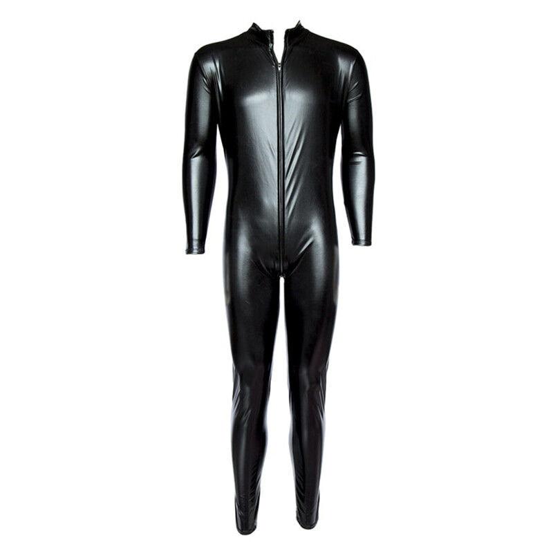 Wet Look Men Spandex Bodysuit Faux Leather Catsuit Sexy Lingerie Hot  Clubwear Costume