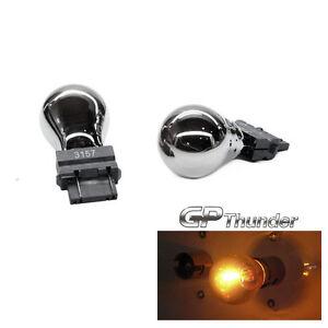 GP-Thunder 3157 3057 4157 Chrome Silver T25 Light Bulbs Amber 2pcs
