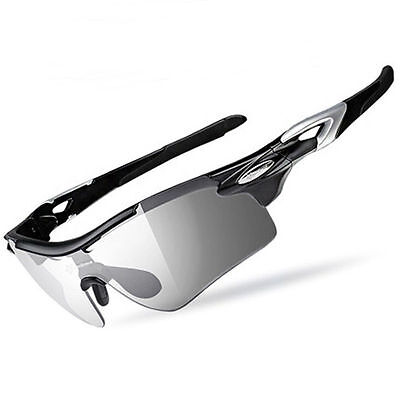 RockBros Bike Polarized Photochromatic Glasses Eyewear with Myopia Frame Black