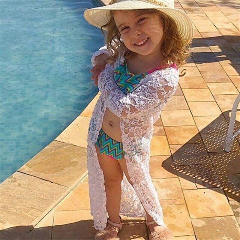 Girls Beach Dress Toddler Kids Baby Girls Floral Lace Sunscr