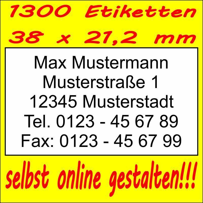 1300 Absender Etiketten Adress-Aufkleber Adress-Etikett  Druck selbst gestalten