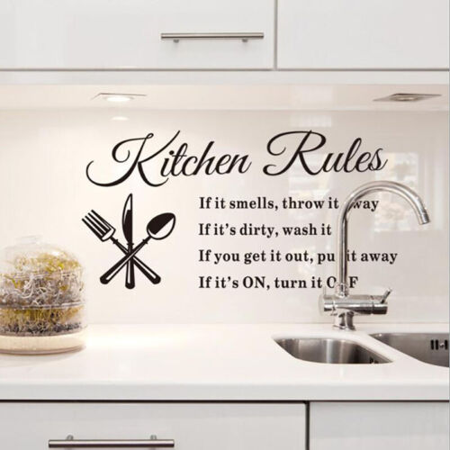 Home Decoration - Kitchen Rules Wall Stickers Removable Waterproof Decorative Home Decoration