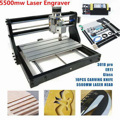 3axis 3018 Pro Cnc Router Engraver Wood Pcb Carving Milling Machine5500mw Laser