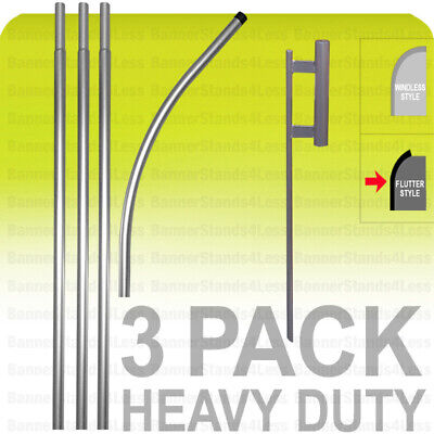 Swooper Flag Heavy Duty Pole Spike Ground Feather Flutter 15 Kit - 3 Pack
