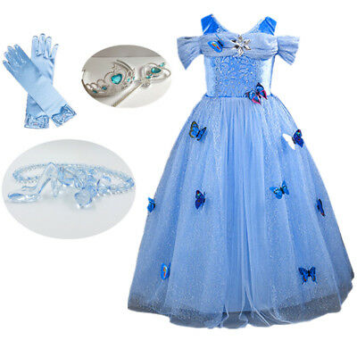 Girl Dress Cinderella Princess Costume Blue Butterfly Dress Long Grown - Blue Butterfly Costumes