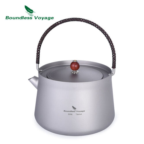 800ml Outdoor Titanium Kettle with Filter Anti-scalding Handle Lid for Water Cof