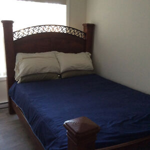Large Queen bed with build in bed frame