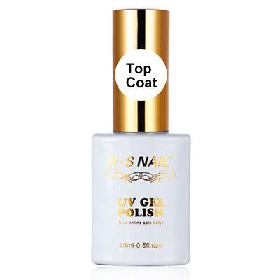 RS Nail UV LED Gel Nail Polish No Wipe Top Coat High Shine Finish Clear 15ml NEW