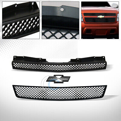Fit 07-14 Chevy Tahoe/Suburban/Avalanche Glossy Blk Mesh Front Bumper Grille 2PC
