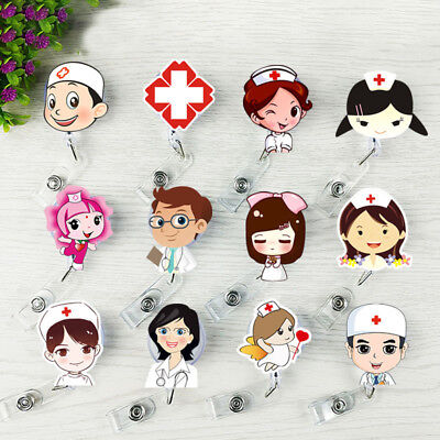 Badge Holder Reel Nurse Doctors Retractable Cartoon ID Name Key Card Clip Office (Badge Card Holder Clip)
