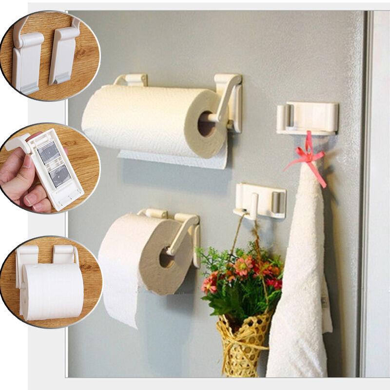 plastic magnetic kitchen bathroom paper towel roll rack holder hold dispenser ebay. Black Bedroom Furniture Sets. Home Design Ideas