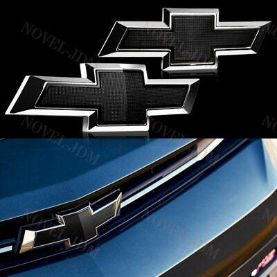 Set For 2017-2018 Chevy Chevrolet Malibu Front Grille & Rear Black Bowtie (Chevrolet Malibu Set)