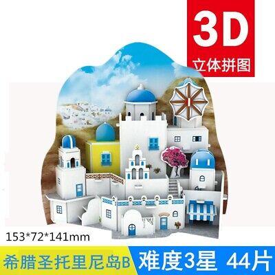 3D puzzle paper building model toy Greece Santorini island great architecture