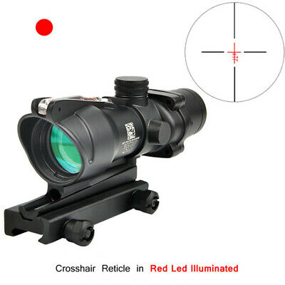 Tactical ACOG 4X32 Real Fiber Source Red Illuminated Scope For Hunting Rifle Gun