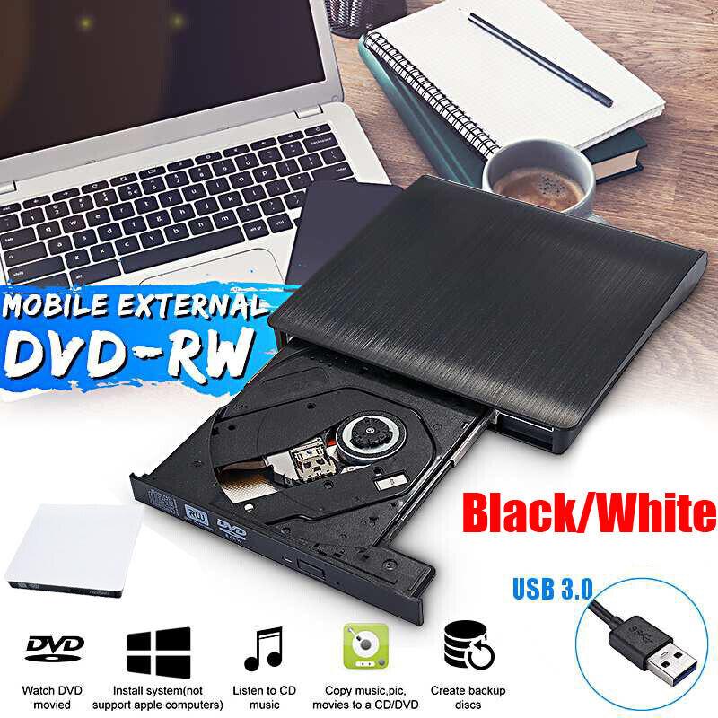 External DVD RW CD Writer Driver USB 3.0 Optical Slim Combo Burner Reader Player