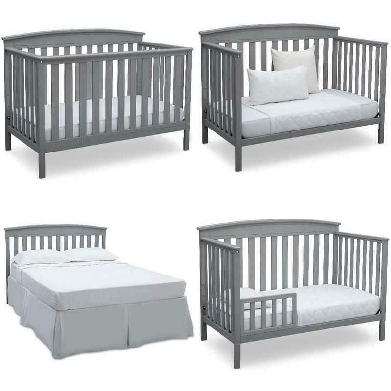 Baby Crib Convertible Toddler Daybed, Full-Size Bed w/ Headboard, Solid Wood NEW
