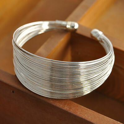 925 Sterling Silver Cuff Chain Wristband Bracelet Bangle One Size Fit All  925 Sterling Silver Bangle