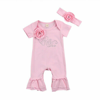 Newborn Baby Girl Flowers Romper Bodysuit Jumpsuit Headband Outfit Clothes Hot