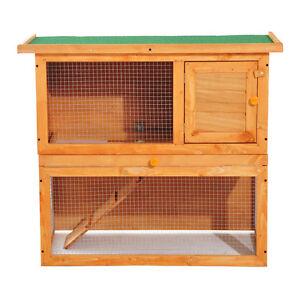 "35"" 2 Tiers Rabbit Hutch Wooden Pet Cage Backyard Run Vintage"