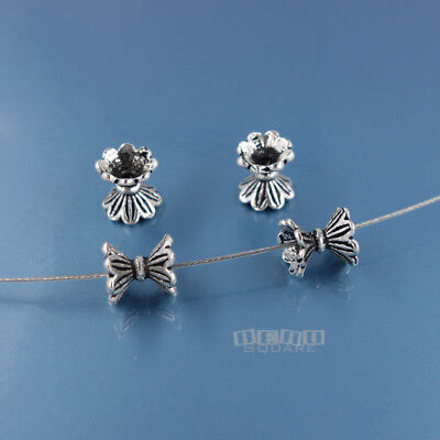 4 PC Antiqued Sterling Silver Daisy Floral Hourglass Bead Spacer ap. 7mm #33822