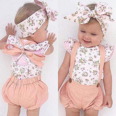 US Stock Newborn Infant Baby Girl Floral Romper Jumpsuit Bodysuit Outfit Clothes