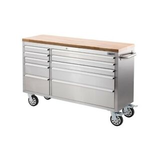 "Brand New 56"" INCH STAINLESS STEEL 10 Drawer TOOL BENCH"