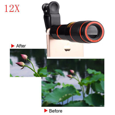 Cell Phone Camera Lens 12x Universal Clip-On for iPhone Android Zoom Telephoto