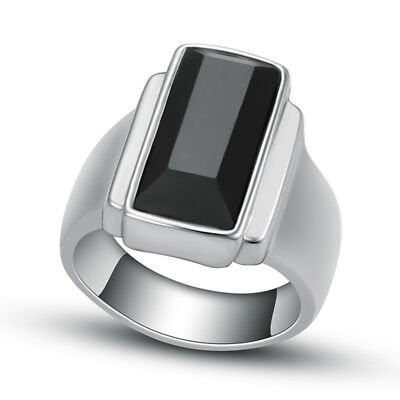 Mens Stainless Steel Square Black Agate Fashion Finger Ring US Size 7 8 9 10 11