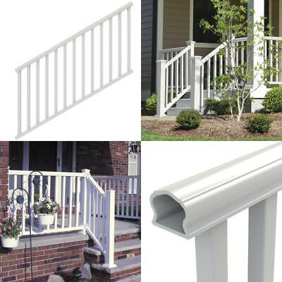 Durable Handrail Stair Railing Kit Traditional Veranda Vinyl Porch Deck, White Vinyl Deck Railing