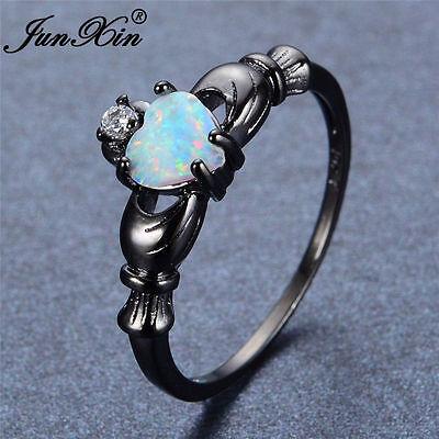 Irish Claddagh Heart White Fire Opal CZ Wedding Ring Black Gold Women US SZ -