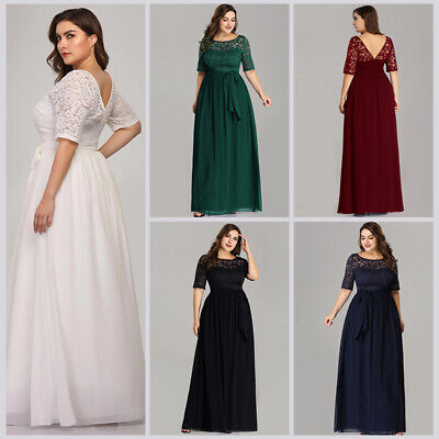 Ever-Pretty US Plus Size Lace Chiffon Party Gowns A-Line Evening Dress 07624](Plus Size 20s Dress)