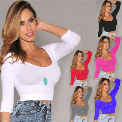 Bare Midriff Top - Women Sexy Crop Top Bare Midriff Long Sleeve Low-cut Bodycon Stretch T-Shirt TEE