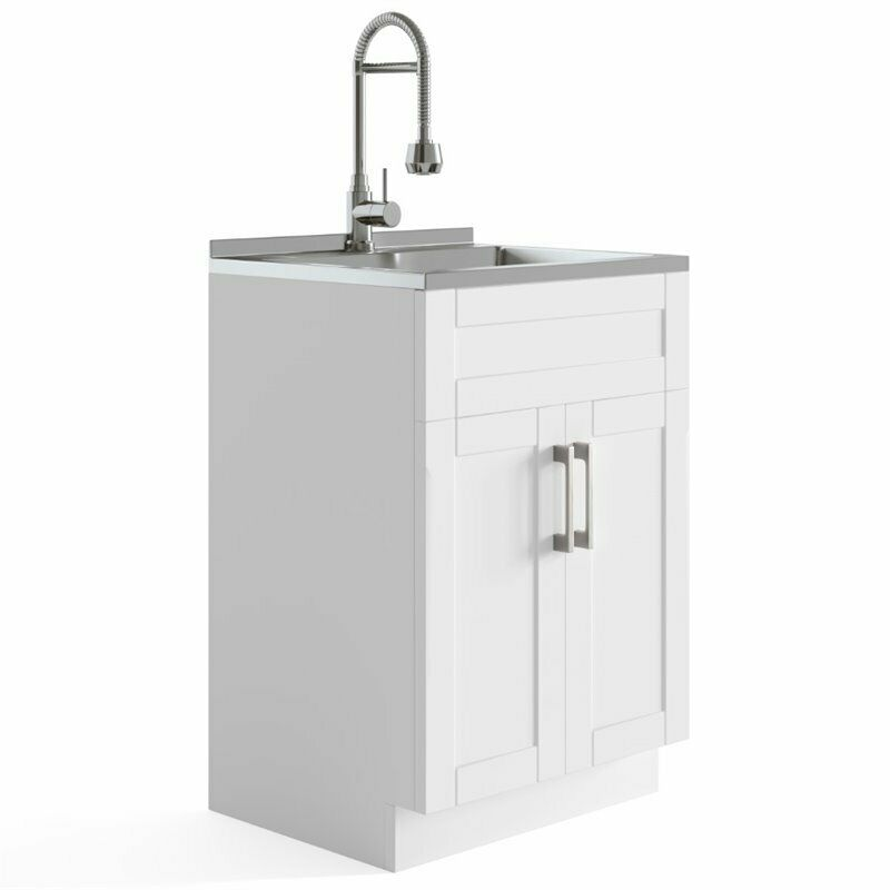 """Simpli Home Hennessy 24"""" Laundry Sink Cabinet in White"""