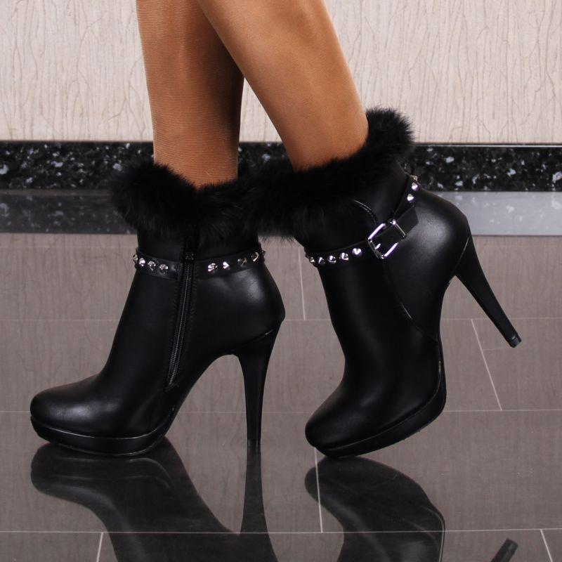 Damen Stiefeletten Schuhe aus Leder-Imitat mit Kunstfell Schwarz #2350