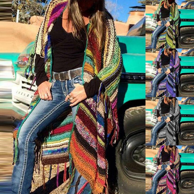 Women Colorful Knitted Tassel Long Cardigan Casual Loose Coa