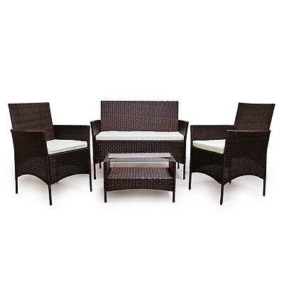 POLY RATTAN braun Lounge Sofa Garnitur Polyrattan Sitzgruppe ...